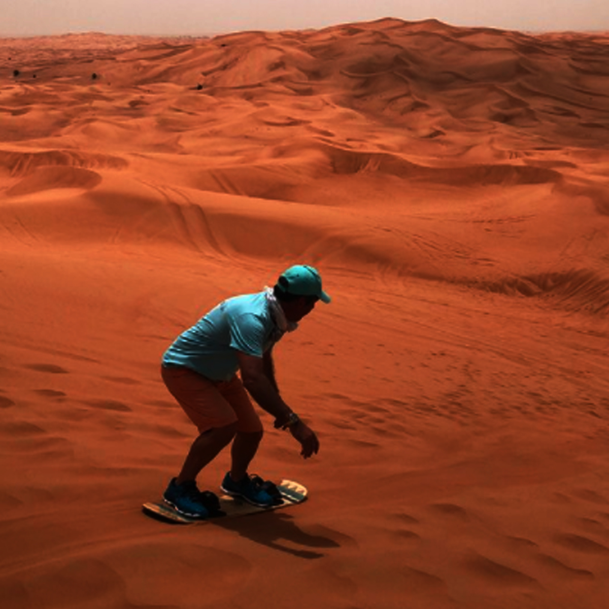Sand boarding experience - Dubai Desert Safari